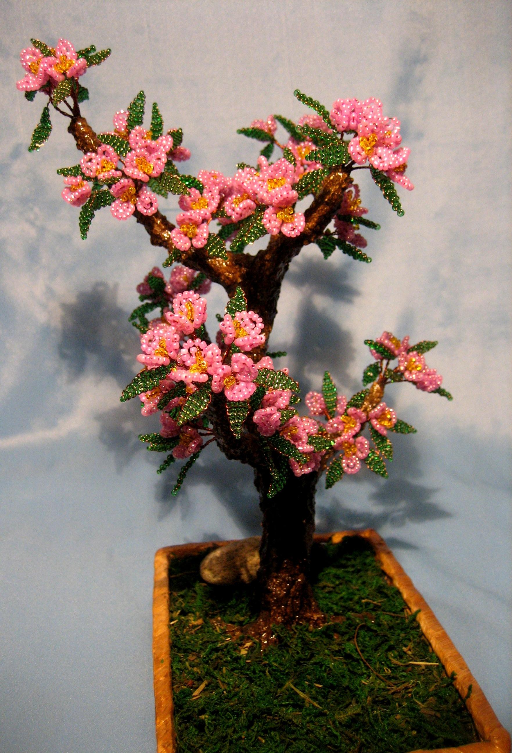 Цветущий бонсай из бисера мастер класс с пошаговым